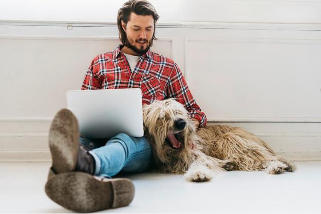 Carinho e atenção com o cão para torna-lo feliz
